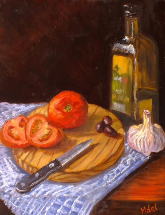 Still Life - Healthy Ingredients Tomatoes, Olive Oil, Olives, Garlic
